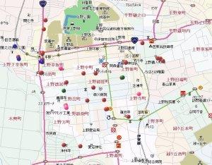 伊賀上野中心部の分布図