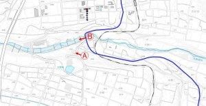 地図・飯島町付近の与田切川 迂回する飯田線と国道