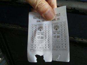 バンガロール バスの切符